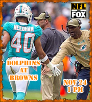 2019 Week 11:Miami Dolphins at Cleveland Browns (1 PM EST)