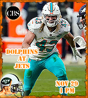 Week 12: Miami Dolphins at New York Jets, 1 pm on CBS